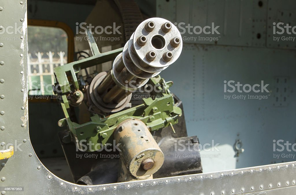 Chaingun in an old American helicopter used, Vietnam war stock photo