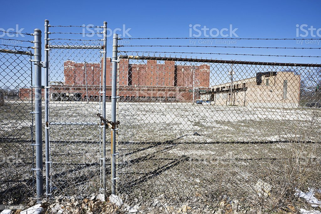 Chainlink Fence and Factory royalty-free stock photo