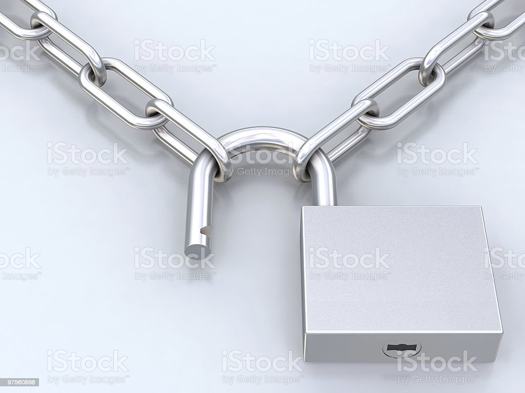 Chains and opened padlock royalty-free stock photo