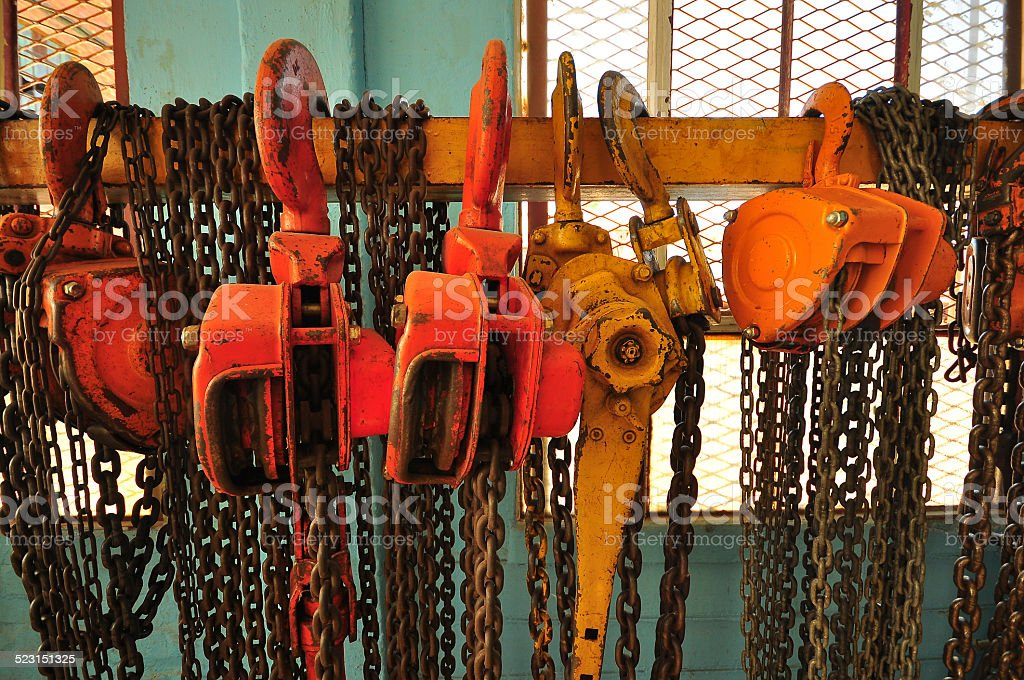 Chains and Pulleys stock photo