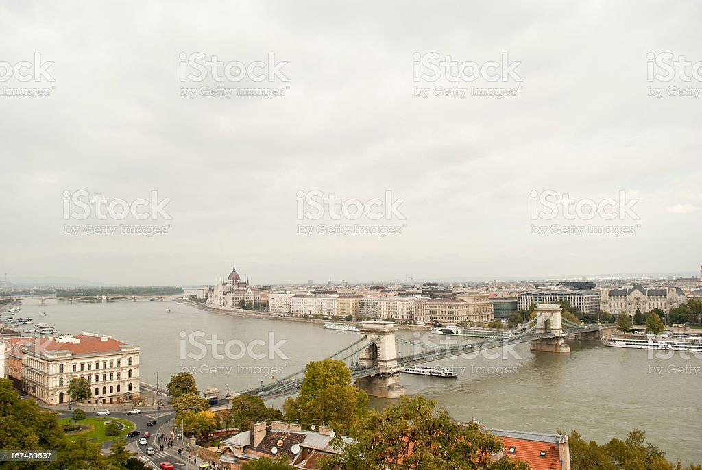 Chains Bridge in Budapest (Hungary) royalty-free stock photo