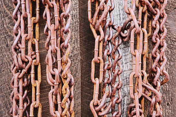 chains hanging rusted equipment - meerdere lagen effect stockfoto's en -beelden