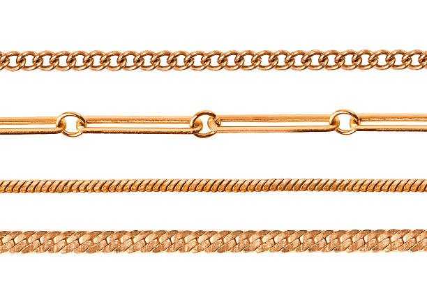chains on a white background - chain object stock photos and pictures
