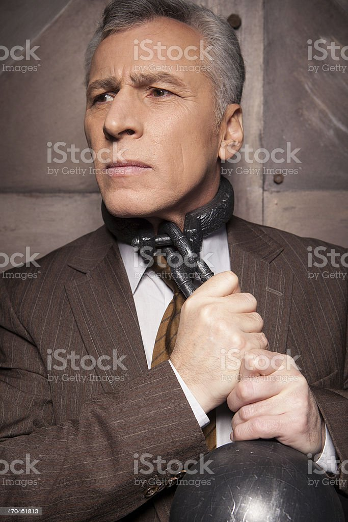 Chains On His Neck Stock Photo