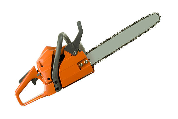 chainsaw isolated - chainsaw stock photos and pictures