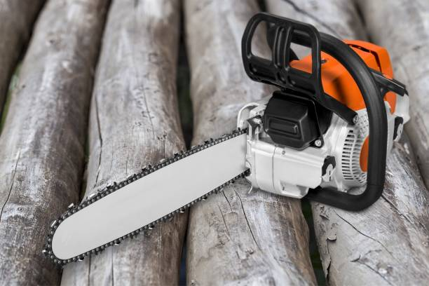 chainsaw. - chainsaw stock photos and pictures