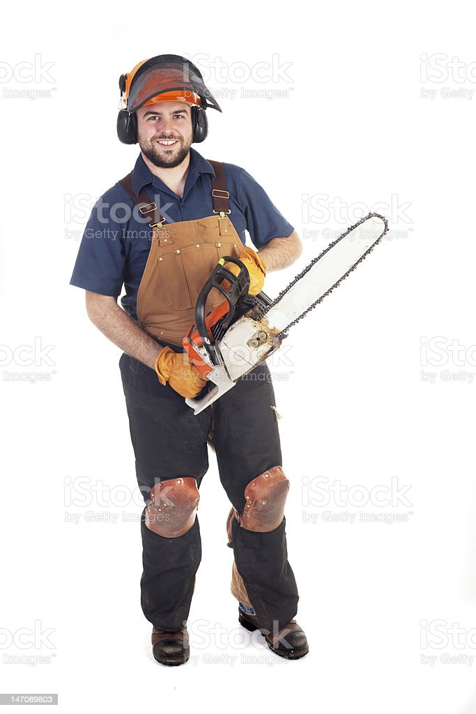 Chainsaw Worker stock photo
