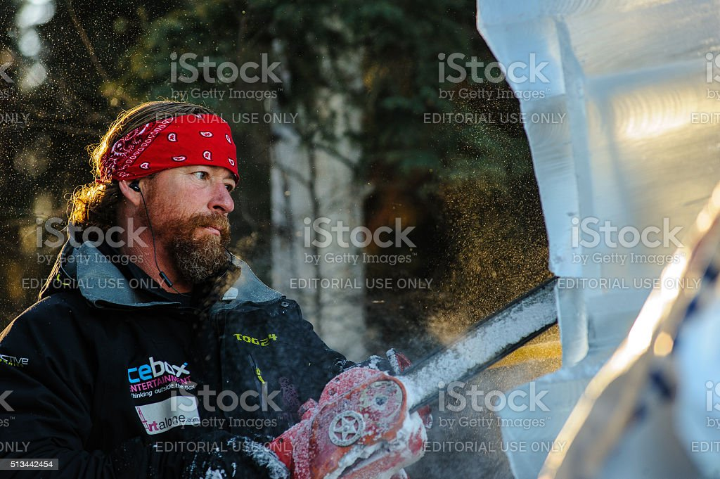 Chainsawing Away stock photo