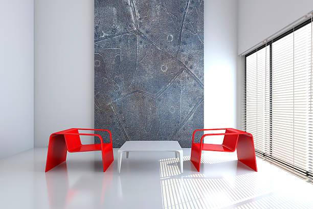 Stuhl und Tisch in eine leere interior 3D-Abbildung – Foto