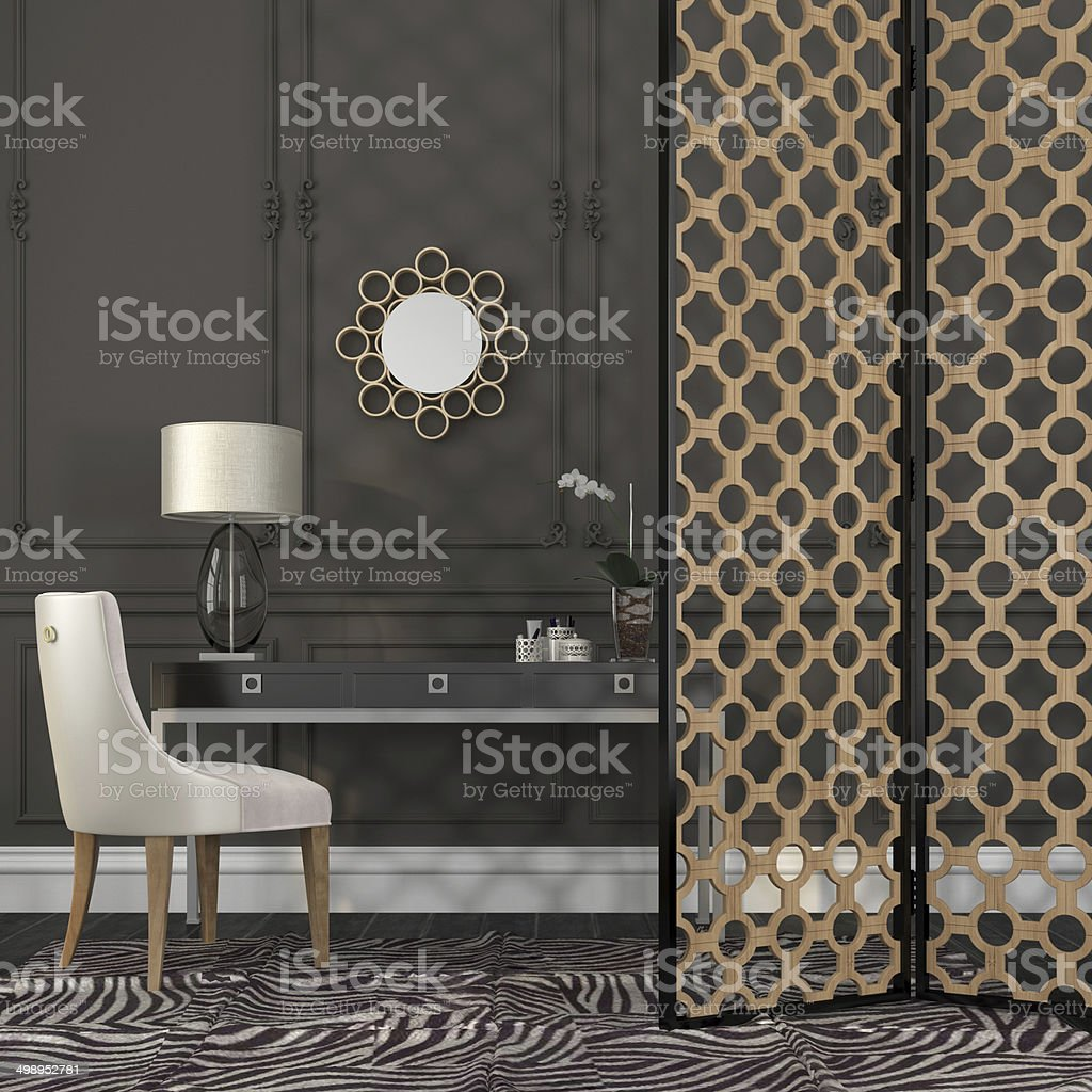 Chair and table behind a screen stock photo