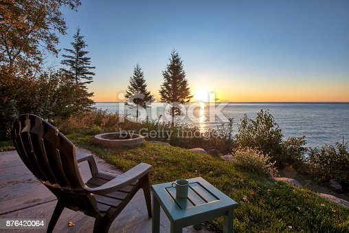 istock Chair and Table over looking Lake Superior 876420064