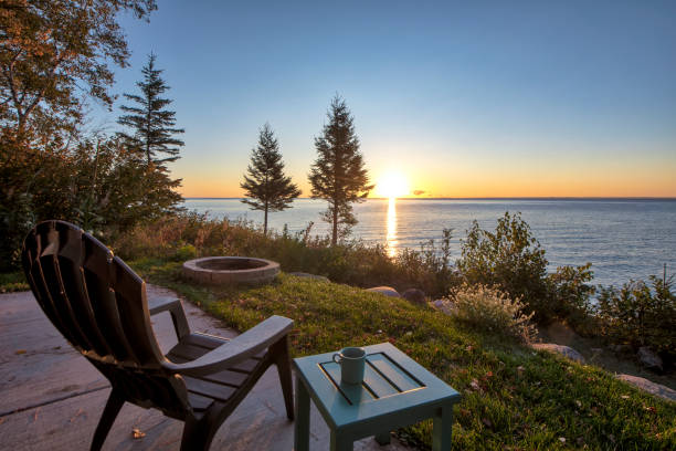 Chair and Table over looking Lake Superior Autumn, Minnesota, Water, Trees, sunrise minnesota stock pictures, royalty-free photos & images