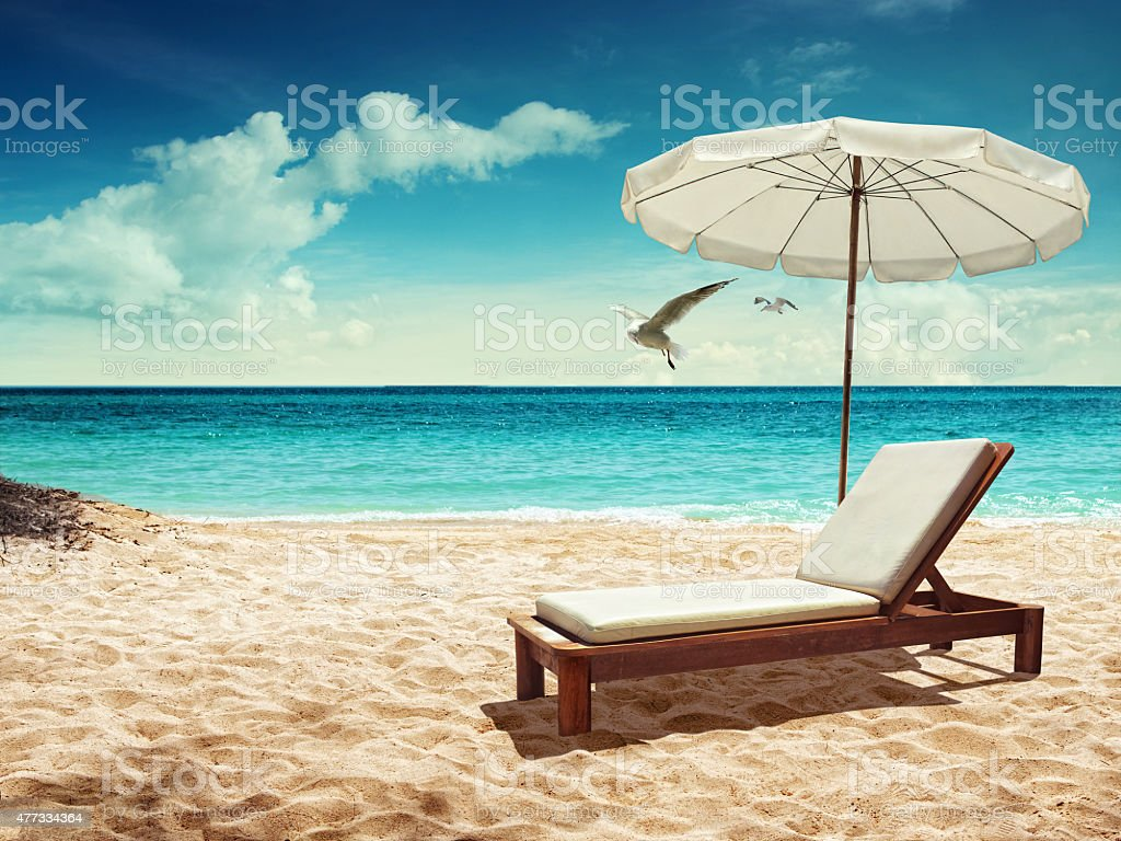 chair by the sea stock photo