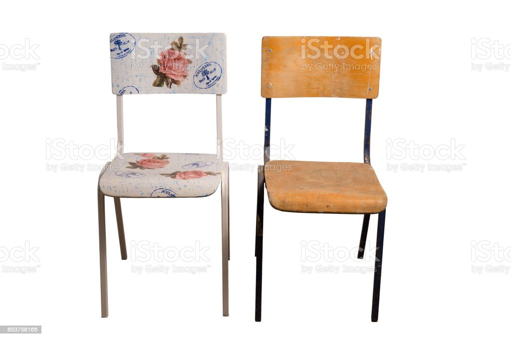 Chair decorated with decoupage technique and an old shabby chair. stock photo