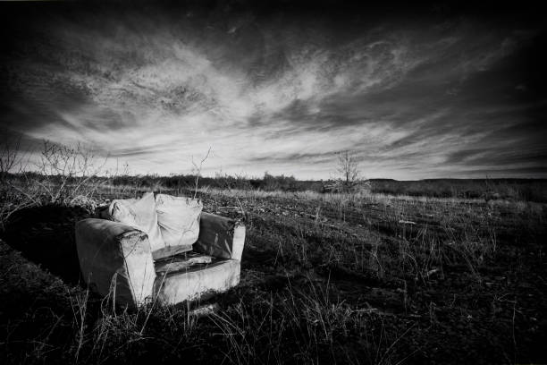 Chair in a field stock photo