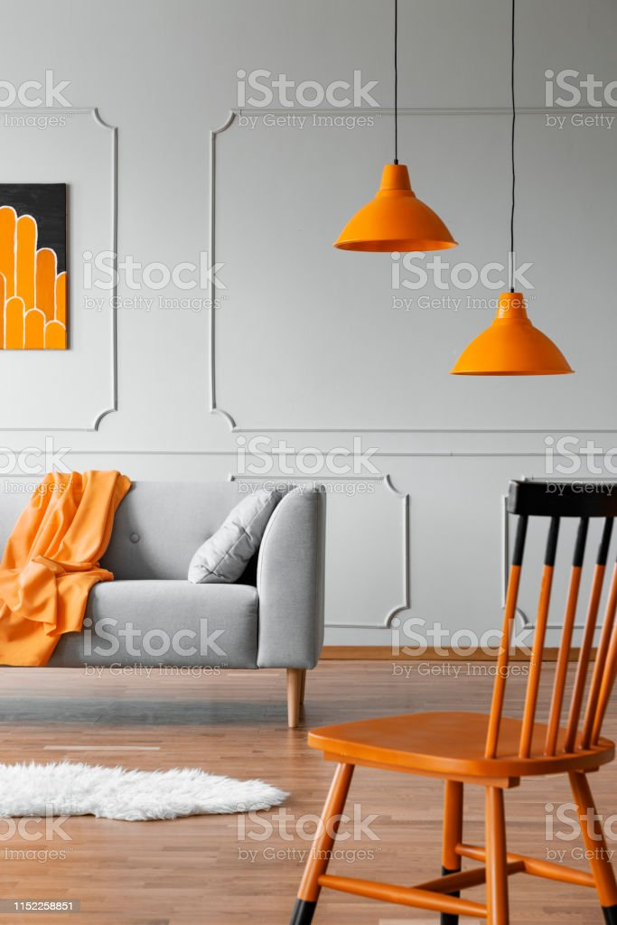 Chair In A Living Room Interior With A Wall Molding Orange ...