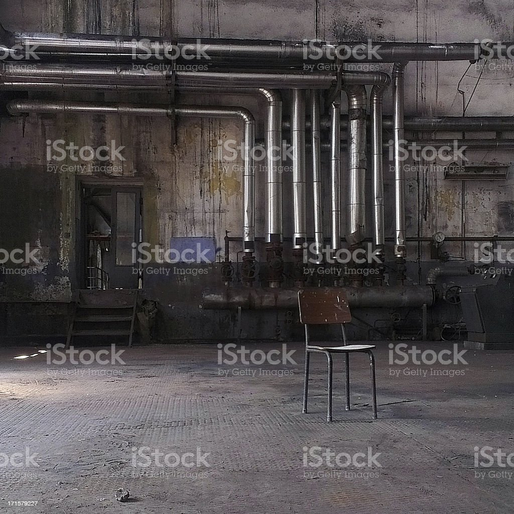Chair in an abandoned factory, Istanbul, Turkey stock photo