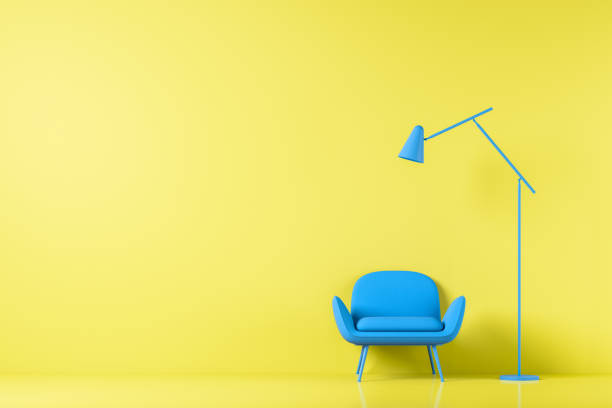 Chair in colored background wall in open space with morden lamp. Mock up. 3D render stock photo