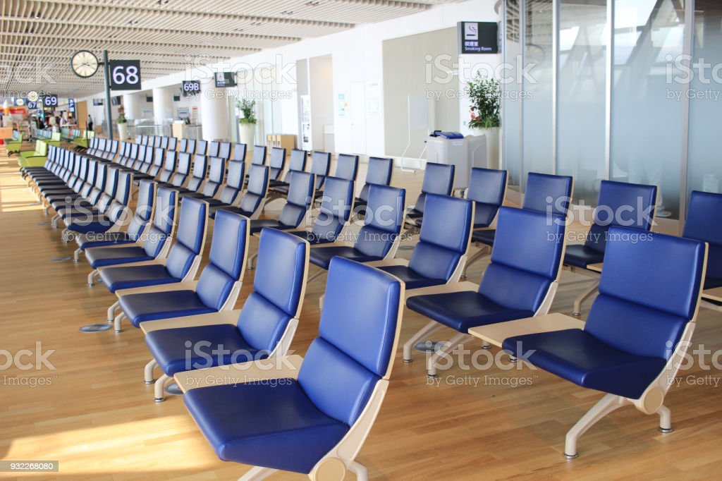 chair in New Chitose airport Chitose Hokkaido Japan stock photo