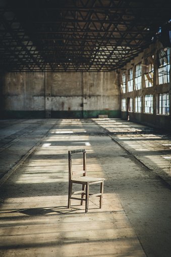 A Chair In The Abandoned Factory Building