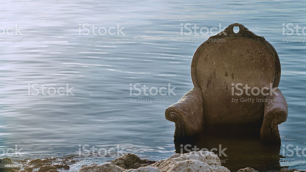 Chair in the Water of the Salton Sea royalty-free stock photo
