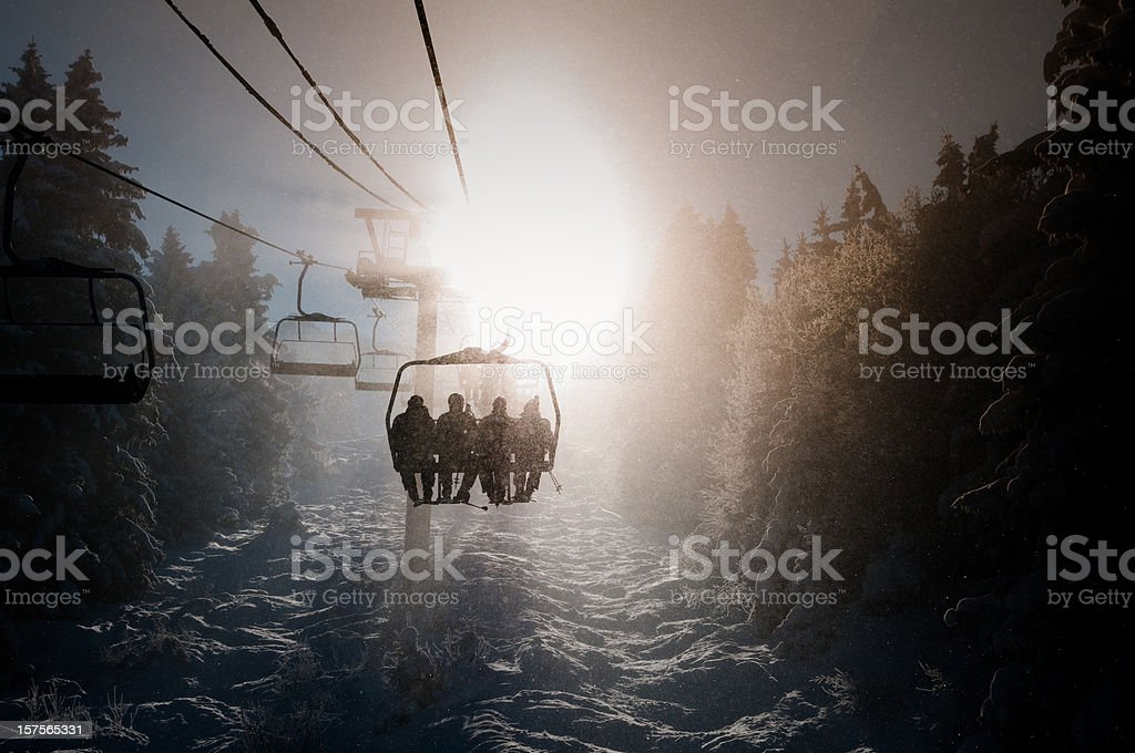 Chair lift back-light stock photo