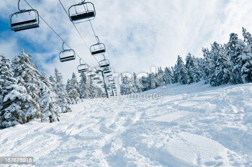 istock Chair lift in Snowy Winter Landscape 157678918