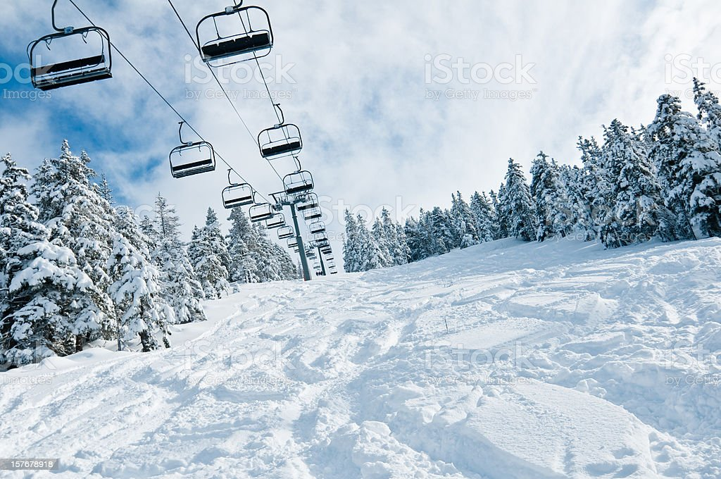 Chair lift in Snowy Winter Landscape stock photo