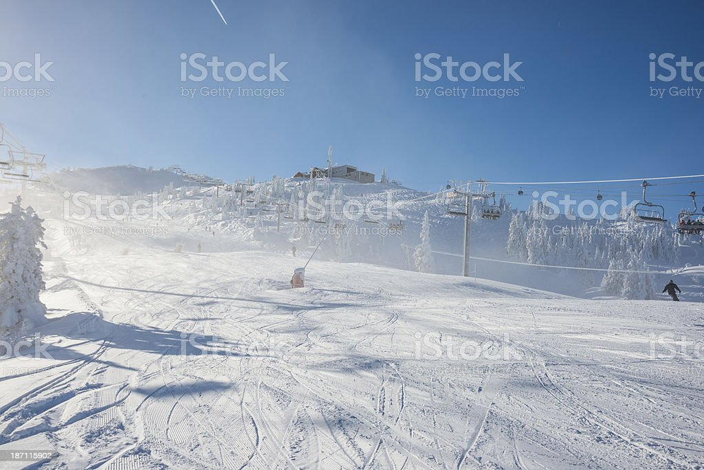 Chair lift in sunny day royalty-free stock photo