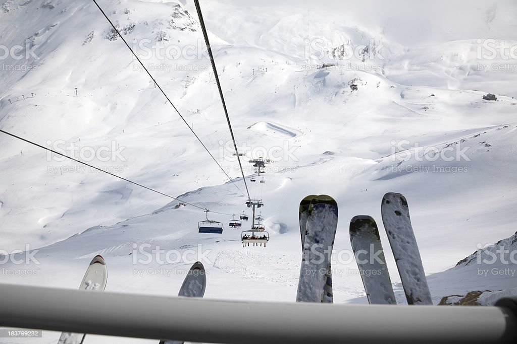 Chair lift in the Alps stock photo