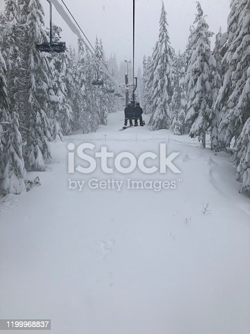 Snowy conditions on the chair lift at a ski resort