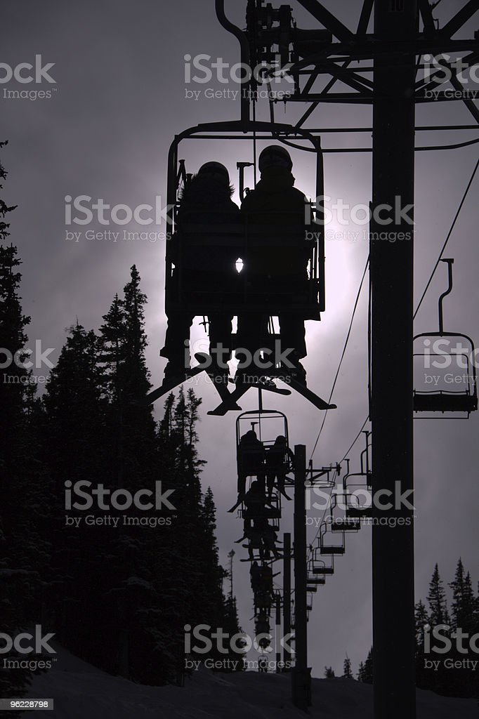 Chair Lift Silhouette stock photo