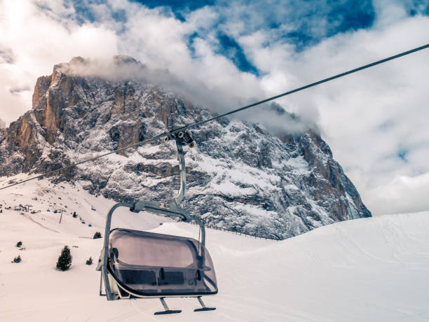 Chair lift with snow and wind cover closed. stock photo