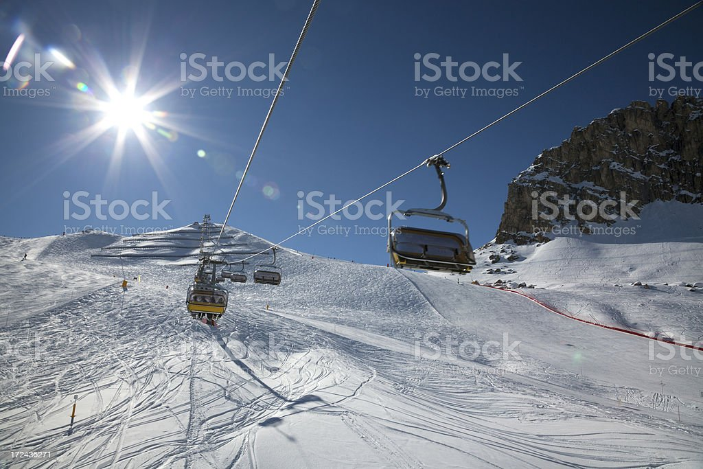 Chair lifts in The Dolomites royalty-free stock photo