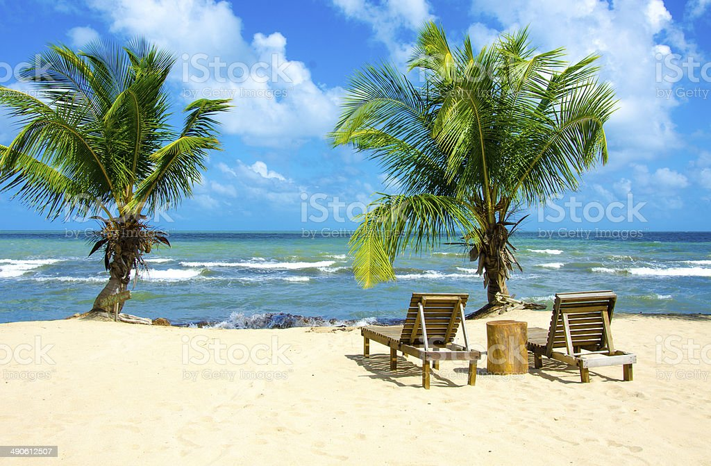 Chair on beautiful beach stock photo