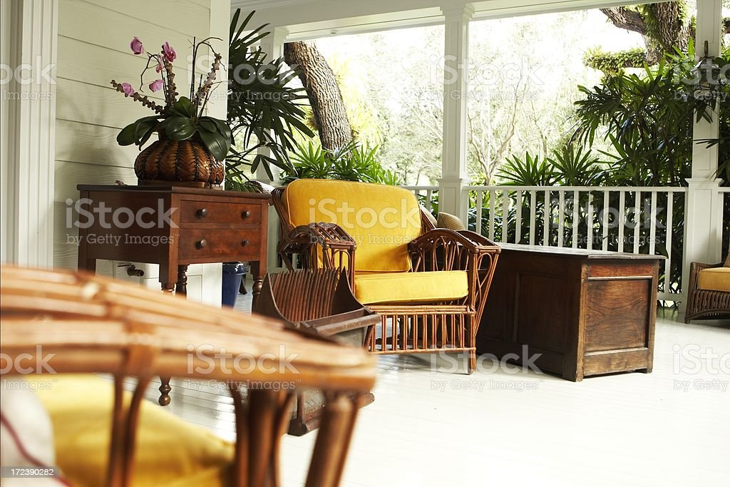 chair on beautiful patio royalty-free stock photo