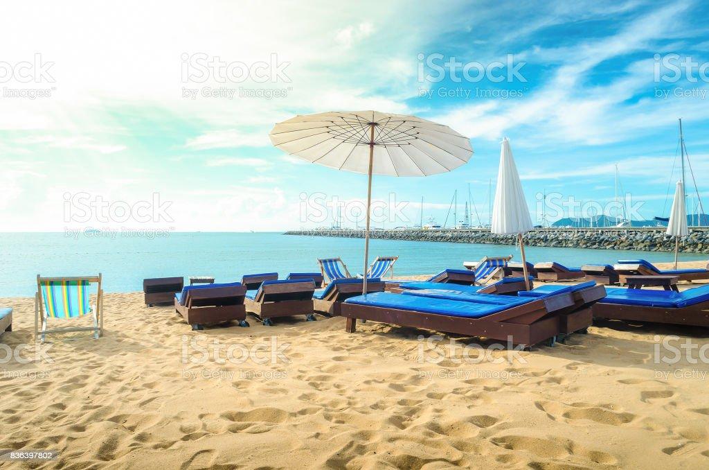 Chair on Pattaya beach at Pattaya Thailand stock photo