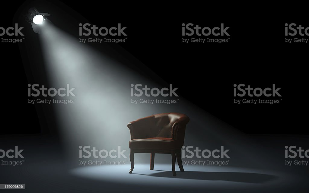 chair on stage stage spotlight Black Color Stock Photo