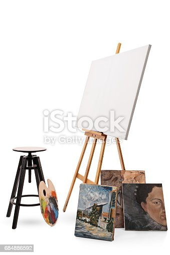 istock Chair, palette, canvas and paintings 684886592