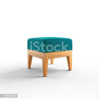 beyaz arka fon üzerinde ahşap gövdeli, turkuaz renk kumaşlı puf sandalye