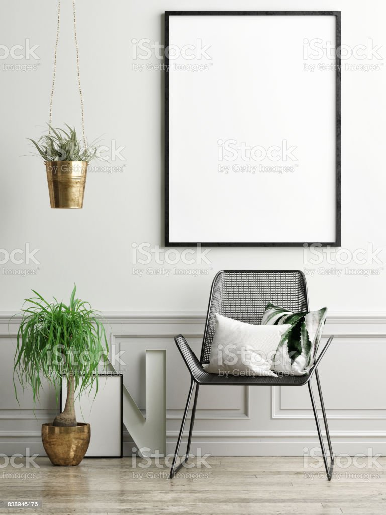 Chair, plants and mock up poster on light green wall - foto stock
