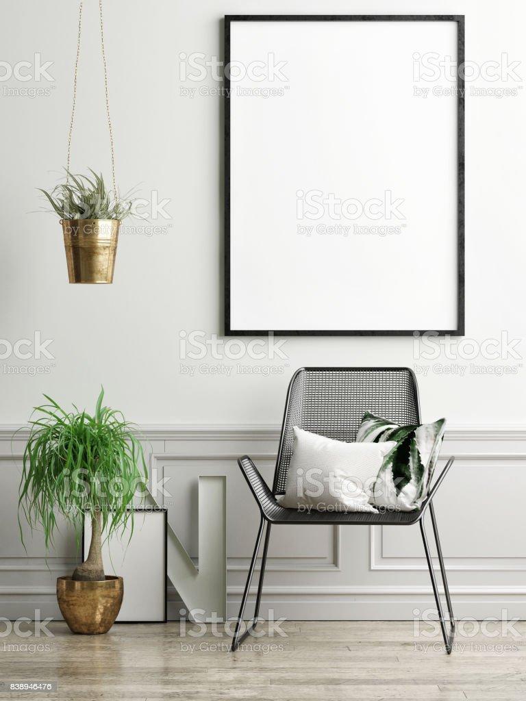 Stuhl, Pflanzen und Mock-up Poster auf leichte grüne Wand – Foto
