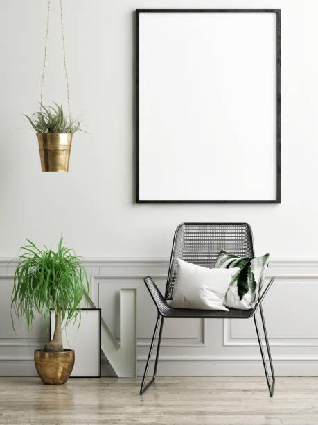 stuhl, pflanzen und mock-up poster auf leichte grüne wand - bilder poster stock-fotos und bilder