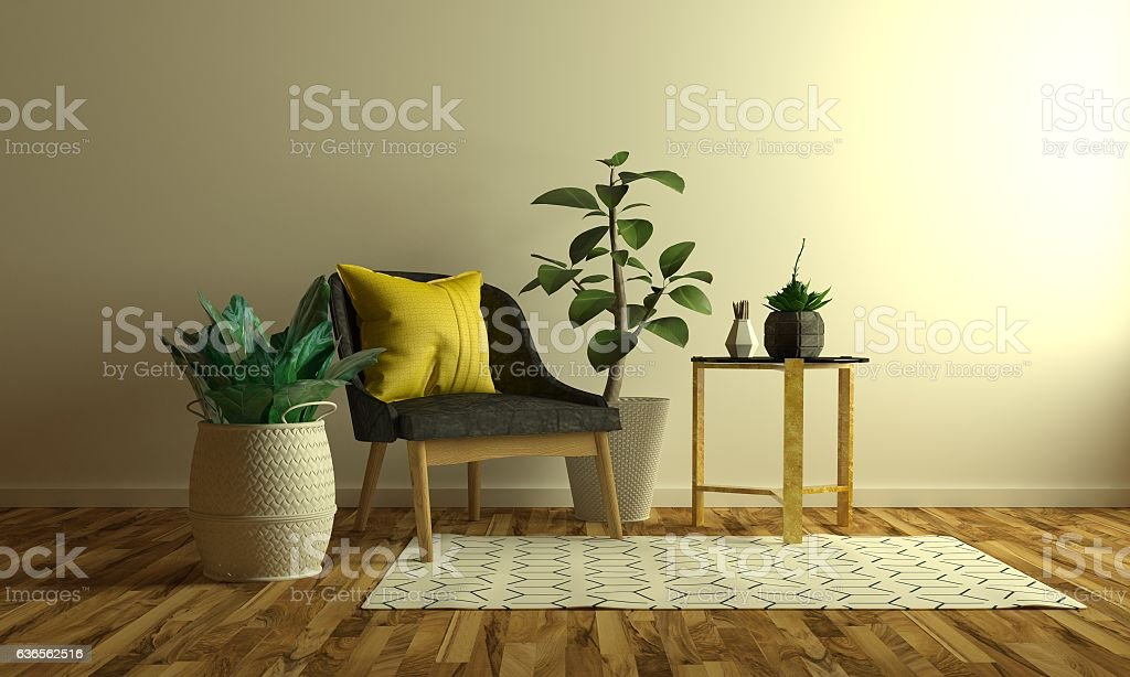 3D chair scene stock photo