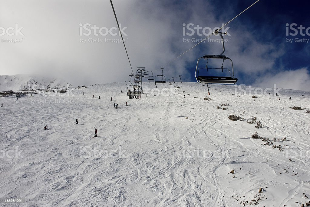 chair ski lift over mountain landscape royalty-free stock photo