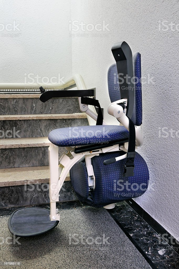Chair Stair Lift Elevator For The Disabled In Downstairs Position ...