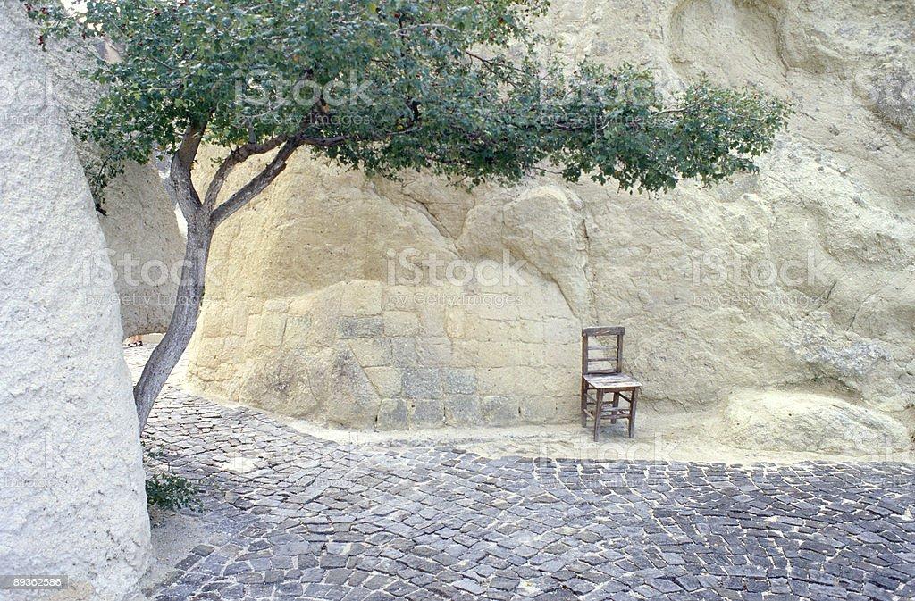 Chair under the tree royaltyfri bildbanksbilder