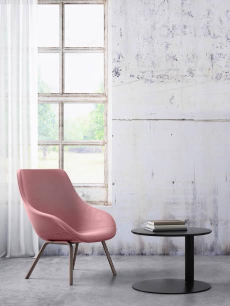 chaise avec table basse et de la fenêtre avec des rideaux, espace de mur blanc modèle copie - architecture intérieure beton photos et images de collection