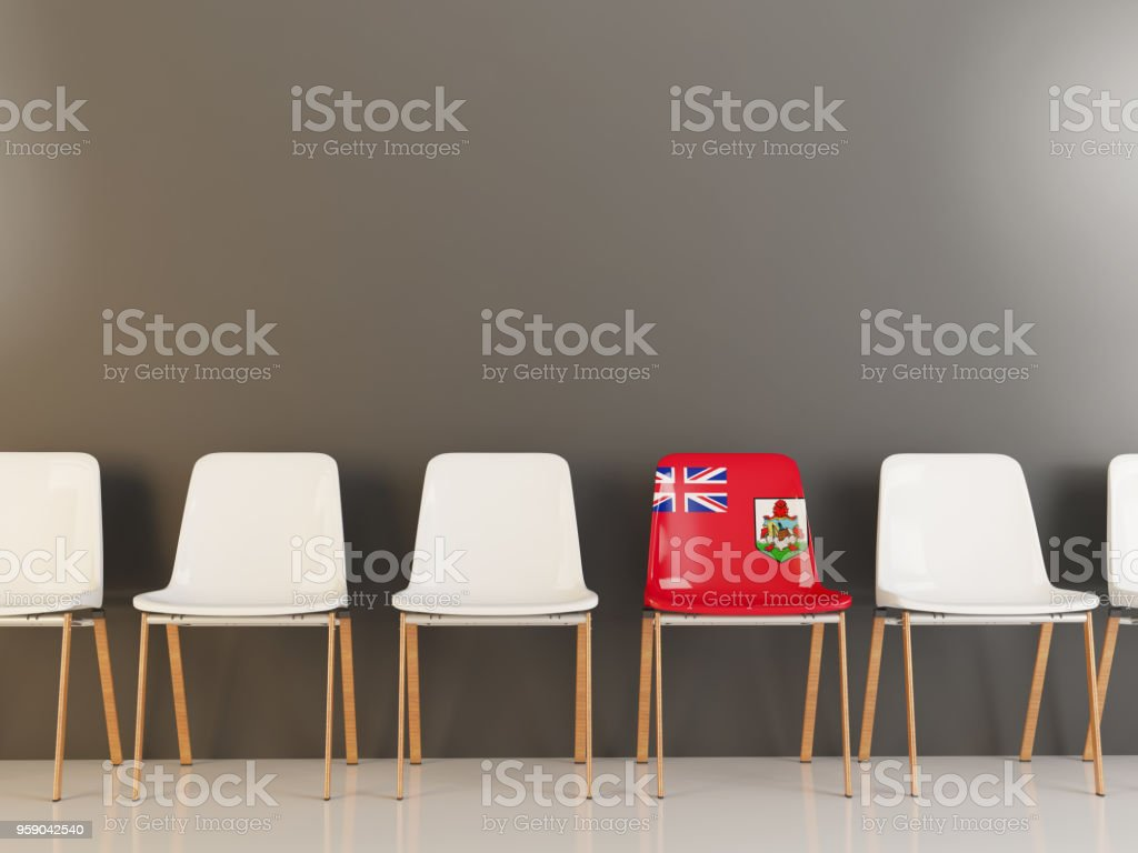 Chair with flag of bermuda stock photo
