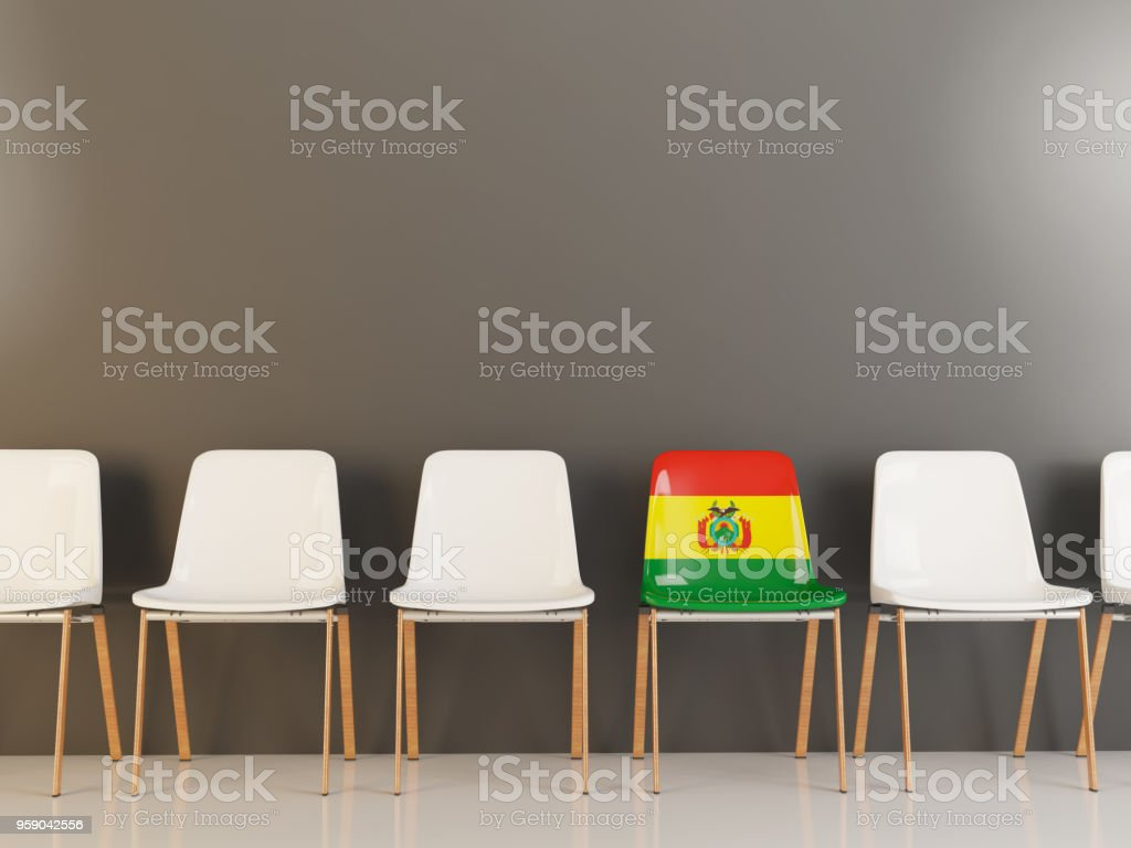Chair with flag of bolivia stock photo